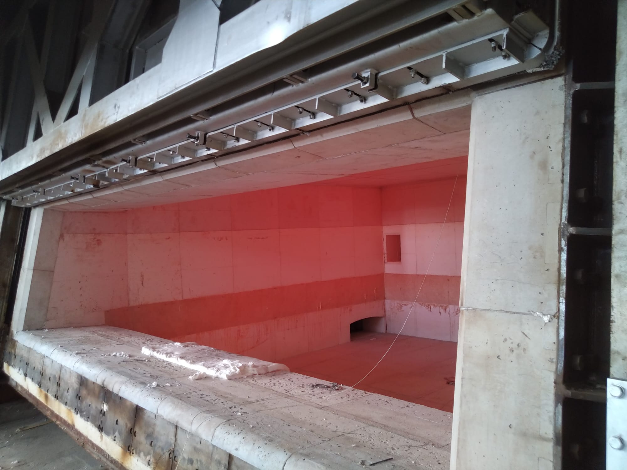 New lining of a reverberatory melting furnace in italy
